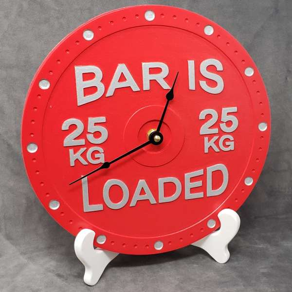 Barbell clock home gym decor decoration wall powerlifting bar is loaded 25kg weight plate