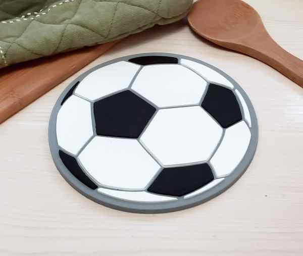 Soccer Ball Silicone Trivet Hot Pad Spoon Rest Coaster Hair Straightener Heat Resistant Food Safe