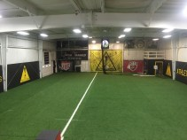 20 yard x 20 yard, netted & walled indoor practice space available to rent.