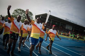 The Queen's Baton was carried by Marcus Bai (rugby League), while being received at the closing ceremony of the PNG Games 2017, in the Sasindran Muthuvel Stadium, in Kimbe, Papua New Guinea, on 2 December 2017. This Queen's Baton Relay will engage with all 70 nations and territories of the Commonwealth, over 388 days and cover 230,000km. It will be the longest Relay in Commonwealth Games history, finishing at the Opening Ceremony on the Gold Coast on 4th April 2018.
