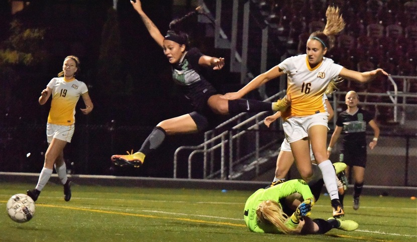 Copyright 2017; Wilmington University. All rights reserved. Photo of Jessica Unsihuay's goal from Preslie Quaranta at Adelphi, taken by James Jones.