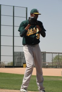 Michael Ynoa on the bullpen mound before his start in Saturday's Double-A game at Papago Park