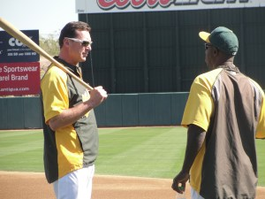 Bob Melvin and Chili Davis engaged in a pre-game staring contest