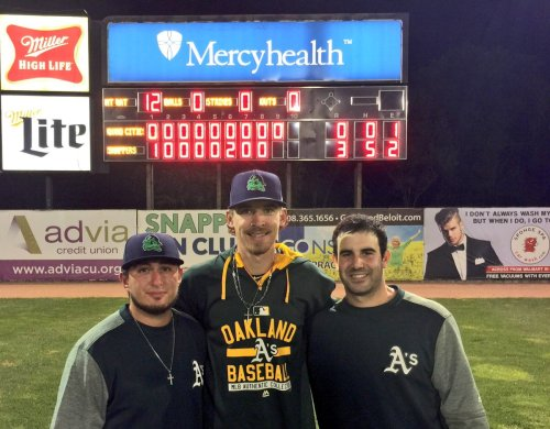 RHP Jason Camacho, LHP Zack Erwin & catcher Jason Goldstein  (photo via Beloit Snappers' Twitter)
