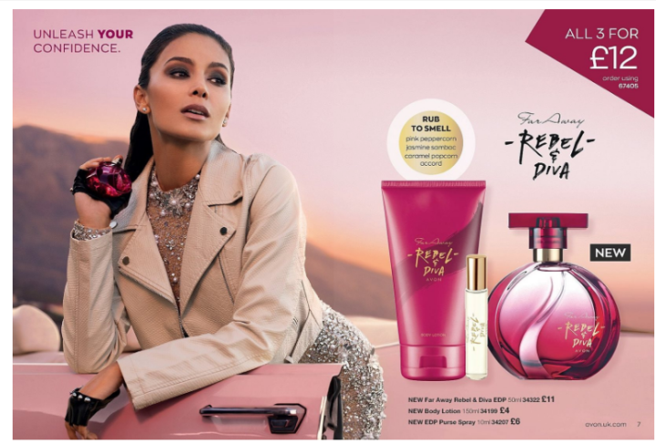 picture shows a glamorous woman holding a bottle of Avon perfume while leaning out of  a pink car, there is also a bottle of perfume , body lotion and purse spray next to her. Avon August.