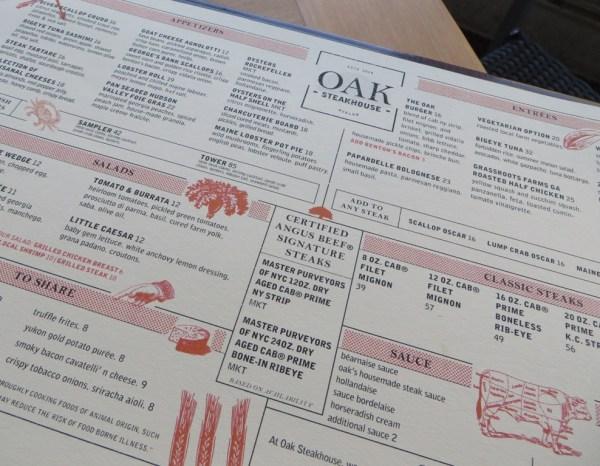 Avalon Oak Steakhouse Menu