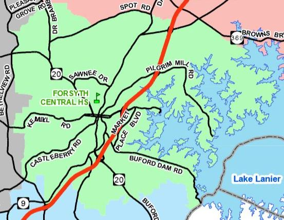 Forsyth County Map Forsyth Central High Location