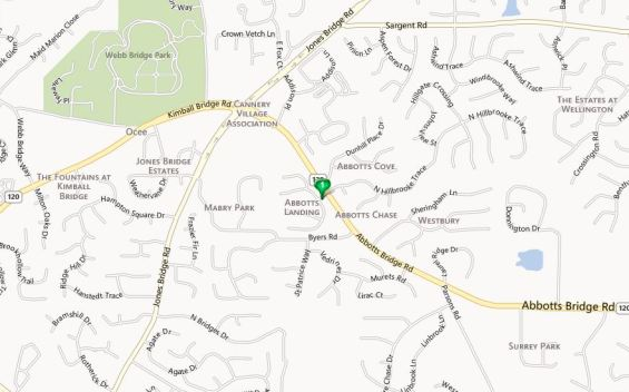 Johns Creek Map-Abbotts Landing Neighborhood Location