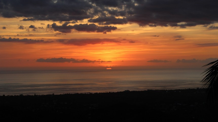 spectacular view of sunset atop the hills of Rincón