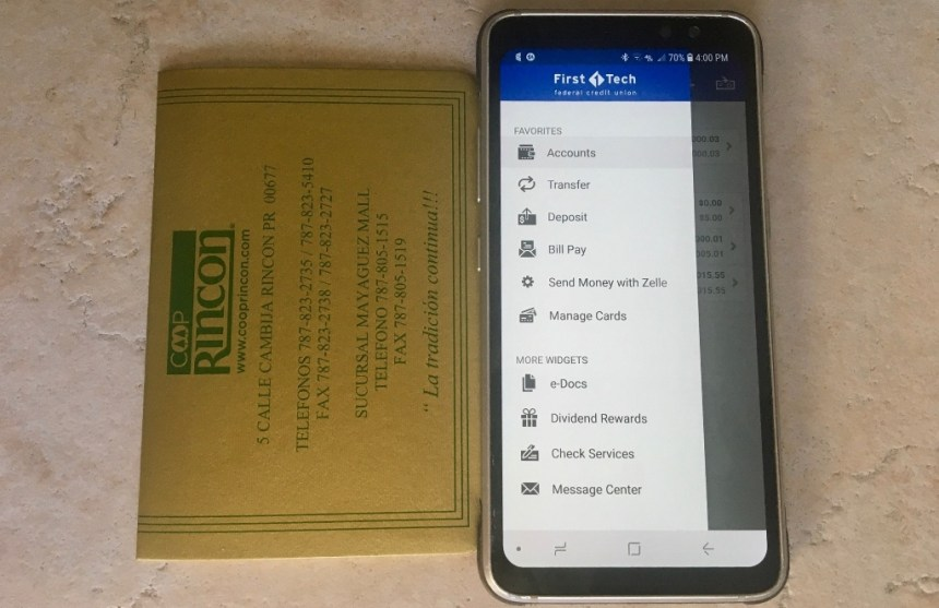 At Home in Puerto Rico - Cash Management in Puerto Rico - CoopRincon passbook and First Tech FCU mobile app