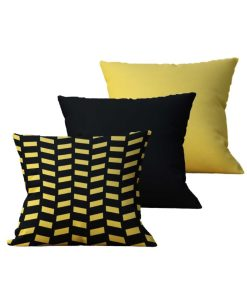 Kit com 3 Almofadas Decorativas Black & Gold Duo - 45x45 - by #1 AtHome Loja