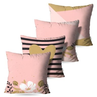 Kit com 4 Almofadas Decorativas Rose Flower Neo - 45x45