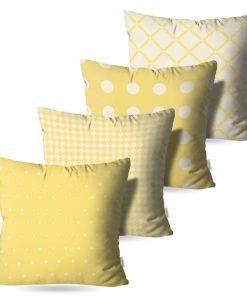 Kit: 4 Almofadas Decorativas Amarela Coat - 45x45