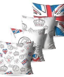 Kit: 4 Almofadas Decorativas England - 45x45
