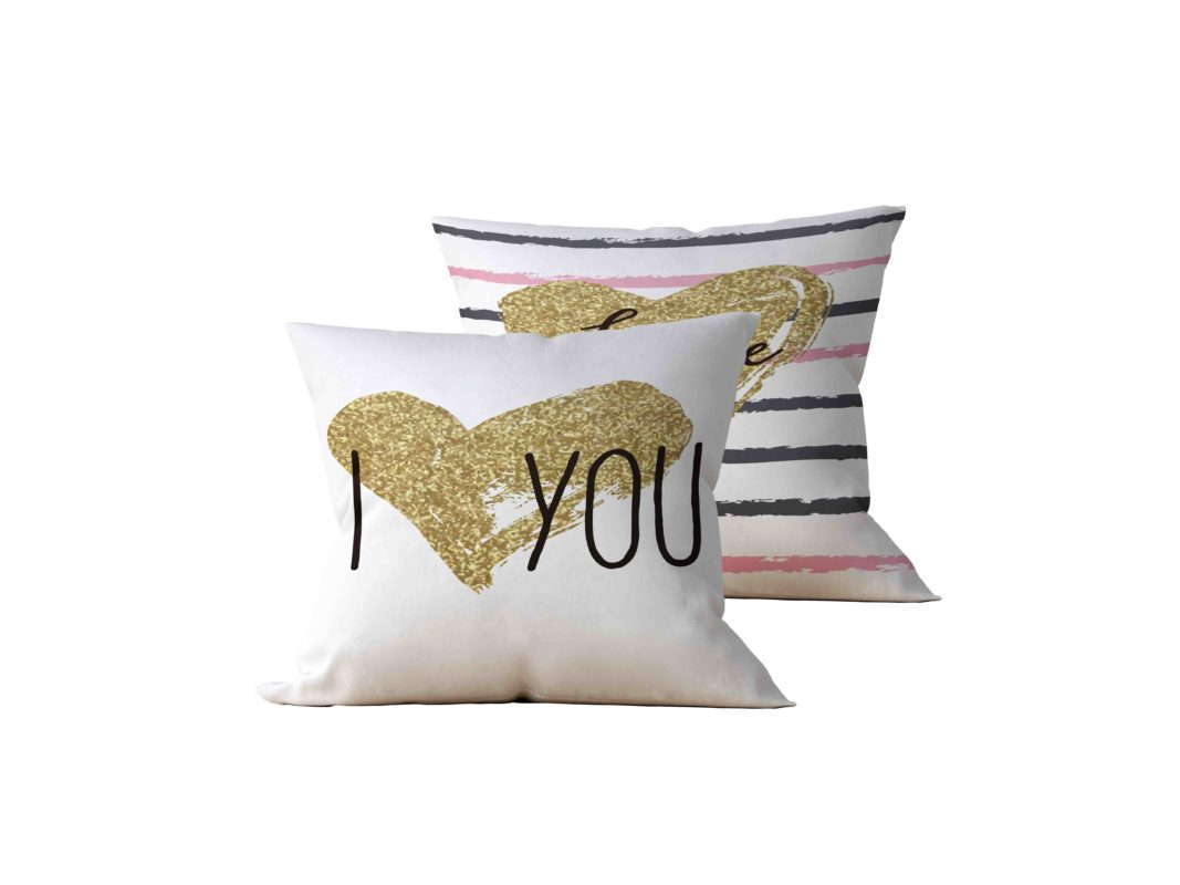 Kit: 2 Almofadas Decorativas I Love You - 45x45