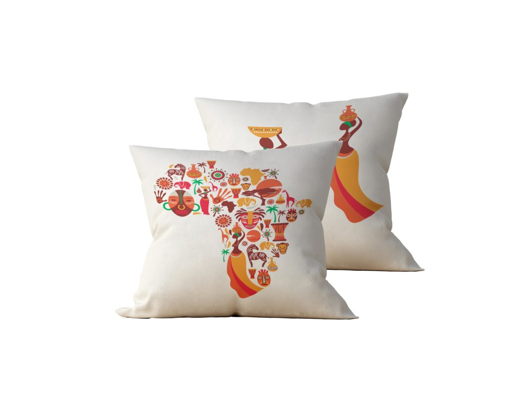 Kit: 2 Almofadas Decorativas Africa - 45x45