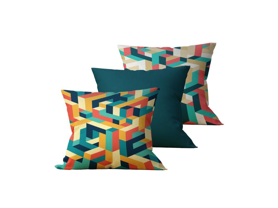 Kit: 3 Almofadas Decorativas Colourful - 45x45