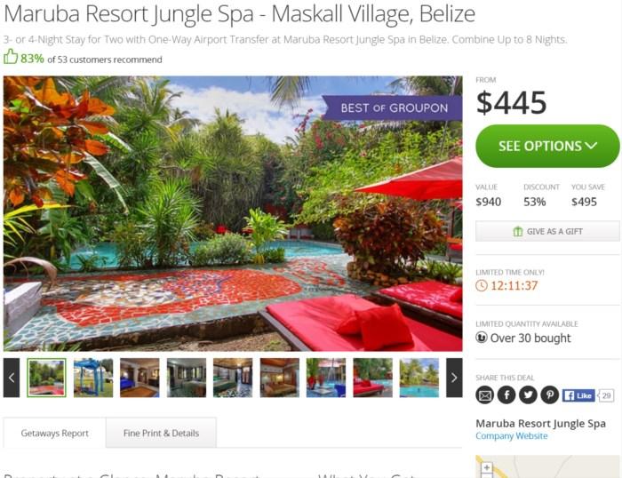 Belize Maruba Resort Jungle Spa Groupon Find