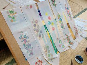 名古屋の友禅染体験「半衿」の色挿しサンプル