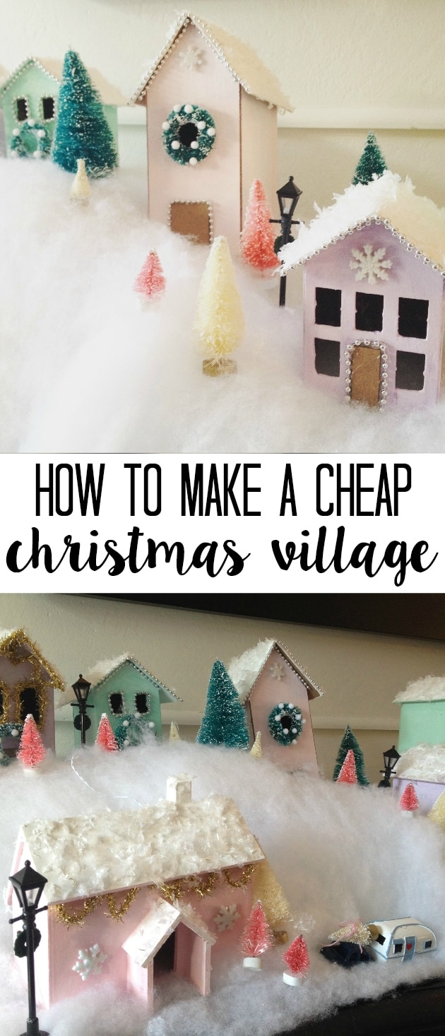A beautiful DIY Christmas Village full of pastel pink and mint. This display of whimsical houses was made on a budget and is totally customizable based on your decor! Ideas so you can make your own for cheap with a secret sourse for buying the supplies that you'll love!