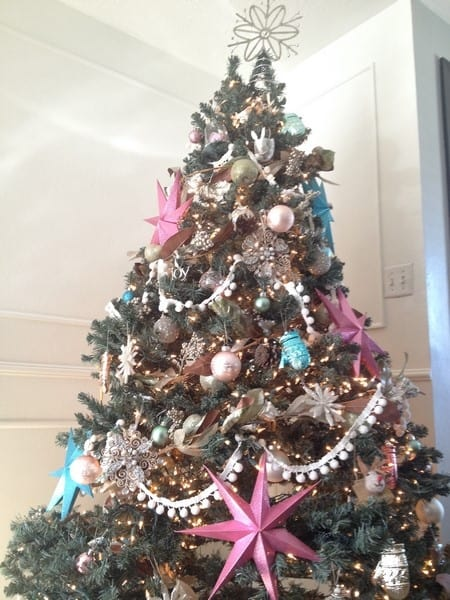 holiday home tour. Inspiration to make your house beauitful at Christmas time. Beautiful ornaments garlands- fun, colorful, and happy house decor you'll love