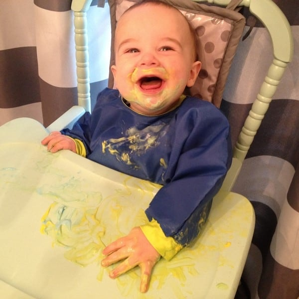 sensory activities baby 9 months old paint with yogurt