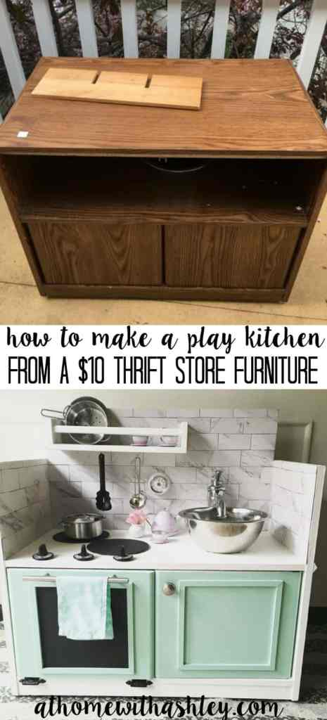 How to make a play kitchen from a 10 piece of furniture at home how to make a play kitchen from a 10 thrift store furniture piece solutioingenieria Gallery