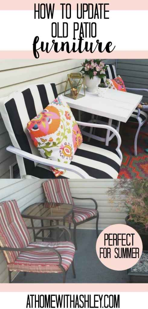 ways to update old patio furniture that is tired cheap and worn with a creative and budget friendly solution #homedecor perfect for a deck or patio or porch