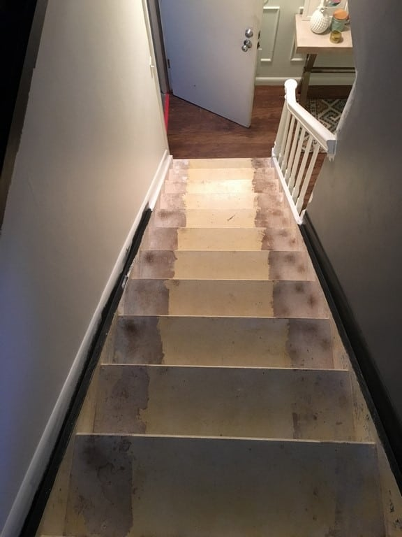 Stairs before and plan. Here's the design for my staircase makeover. Ideas and inspiration for a modern DIY stairway redo