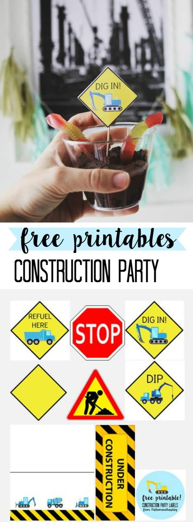Are you thinking of throwing your child a construction birthday party? I have free printables for labels, food, decor, gift, and cake ideas