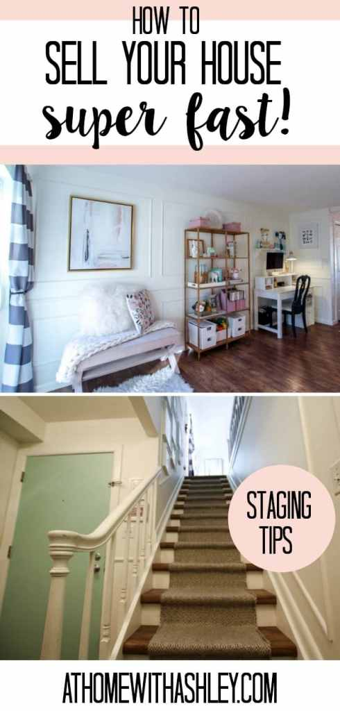 how to sell your house super quick. Tips on staging so your house gets more offers and sells faster for more money. How to organize and declutter your stuff so you get top dollar for your home. Bathroom, kitchen, and living room ideas.