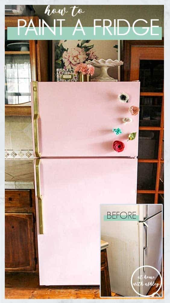 how to paint a fridge without the paint scratching. Follow this tutorial for tips on how to DIY and paint refrigerators with chalk paint. This will give you a fun retro look for your house that you'll love! #diy #fridge