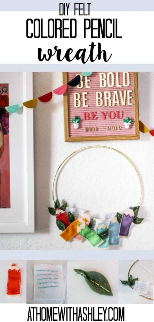 DIY felt colored pencil modern wreath. Perfect for back to school. This is an easy DIY- plus its so colorful and cute! This works for a front door or as a wall hanging- nice and simple!