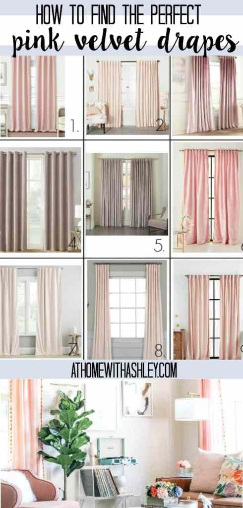 the prettiest tassel and velvet drapes. I have a round up of modern pink crushed velvet and white tassel fabric curtains. Plus I share what I selected and the perfect gold drape rods to go with them. Your window will look so cute with these ideas!
