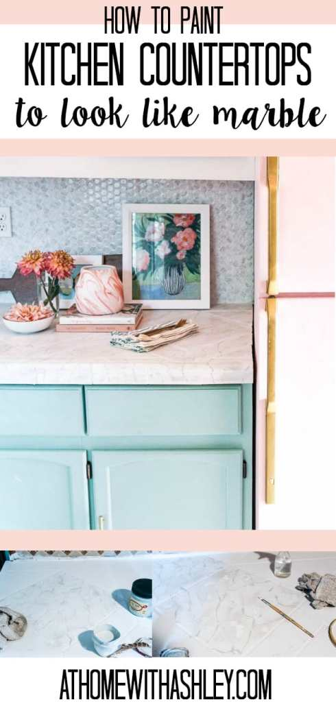 how to paint kitchen counter tops to look like marble. This is a DIY that is perfect for tile or laminate countertops. I share a before and after plus a tutorial on how to do this easy project with chalk paint. I used white and grey paint and it was easy and cheap!