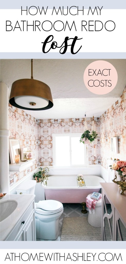bathroom redo costs. My pink marble wallpapered bathroom just got a big makeover. See the DIY elements, ideas for where to go cheap and where to splurge on decor. A full price breakdown is included for this remodel.