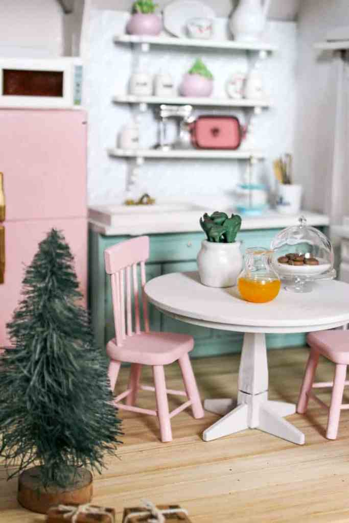 Dollhouse DIY. Watch as this vintage wooden Victorian dollhouse gets a modern makevoer on the interiors. Ideas for where to buy super affordable minatures furniture and accessories. Tutorials for installing wood floors. Plus how to do open shelving in the kitchen. See how its decorated for Christmas