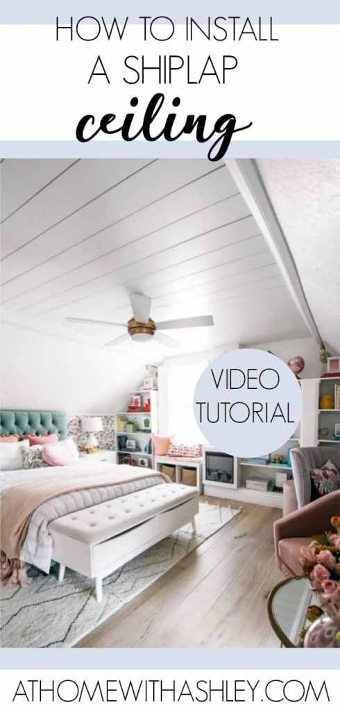 how to install a shiplap ceiling with this easy DIY. This look was made popular by Joanna Gaines and gives the perfect farmhouse look while adding dimension and interest to a space. I share a video tutorial for how I install it in a bedroom and playroom using real shiplap.