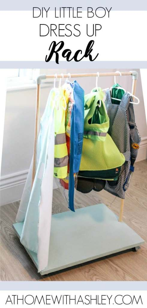 DIY dress up rack. Perfect for kids who love dressing up. You could also use it for hanging clothes. These wood dowels and PVC pipes are a great storage solution and actually a simple project to make! I made this for our play room, but it'd be great for any small spaces. Click through for the video tutorial