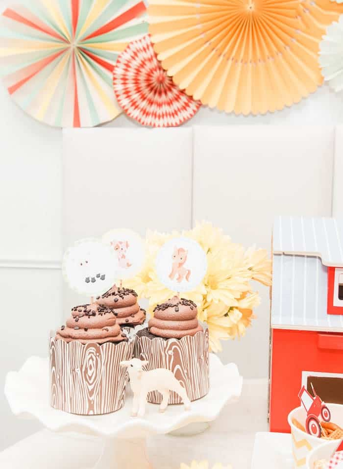 farm birthday party for toddler kids. I'm sharing the decorations, invitations, cake, centerpiece, and table decor for my son's farm party including his cowboy outfit. Click through to download the free printables! Plus DIY ideas for a backdrop