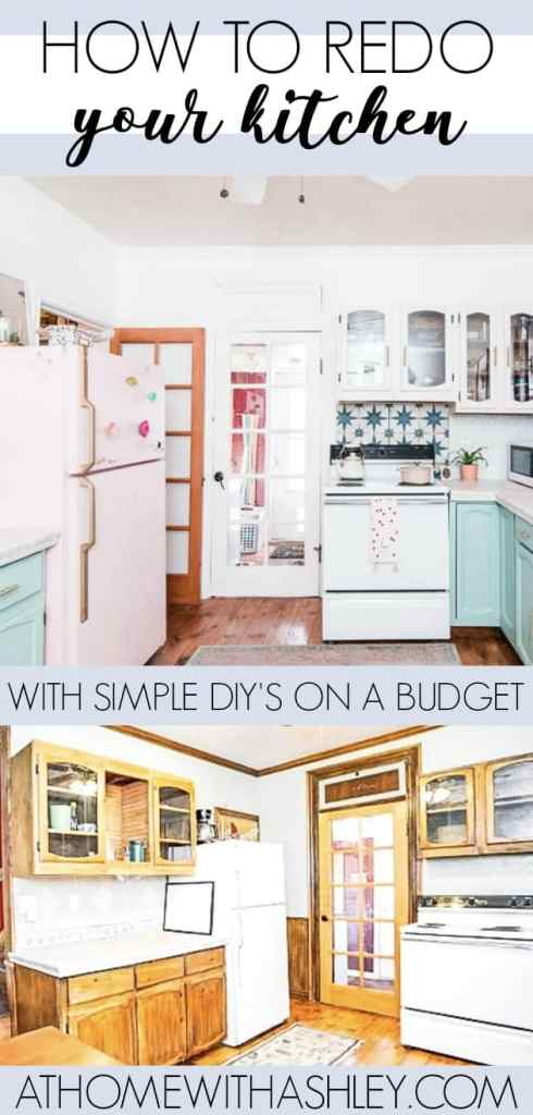 kitchen remodel on a budget- how I was able to do a bunch of DIY projects to completely redo my rustic space. From the countertops ot the cabinets to the backsplash I did a big renovation and share all of the before & after photos. Ideas on how you can also redo your old kitchen and save money doing it. Click through to see the pink fridge, white upper cabinets, and mint lowe cabinets