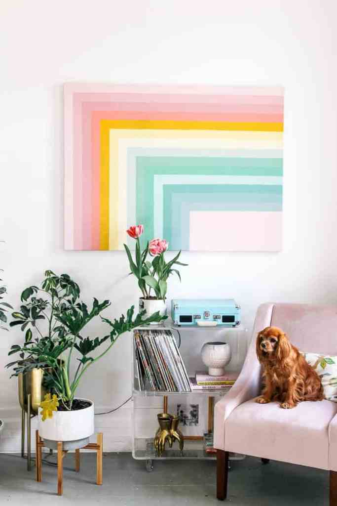 Excellent Diy Color Block Rainbow Wall Art At Home With Ashley Interior Design Ideas Helimdqseriescom