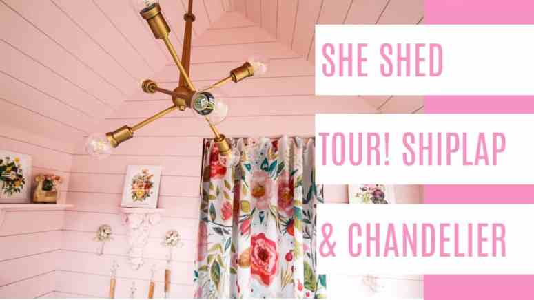 She Shed Shiplap and Chandelier - at home with Ashley