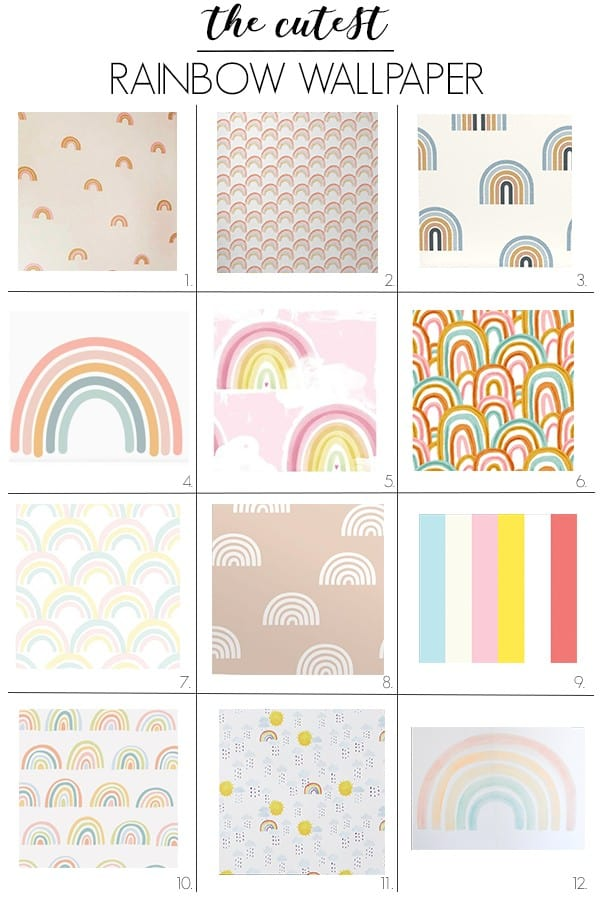 Here are the cutest rainbow wallpapers! You could put it on an accent wall, or go crazy and put it on the ceiling. If you prefer it for walls, there are tons of cute options with lots of different aesthetics to choose from. I'm loving #7, which is so cute and pastel! #rainbowwallpaper #wallpaperforwalls #rainbowdecor #accentwallwallpaper