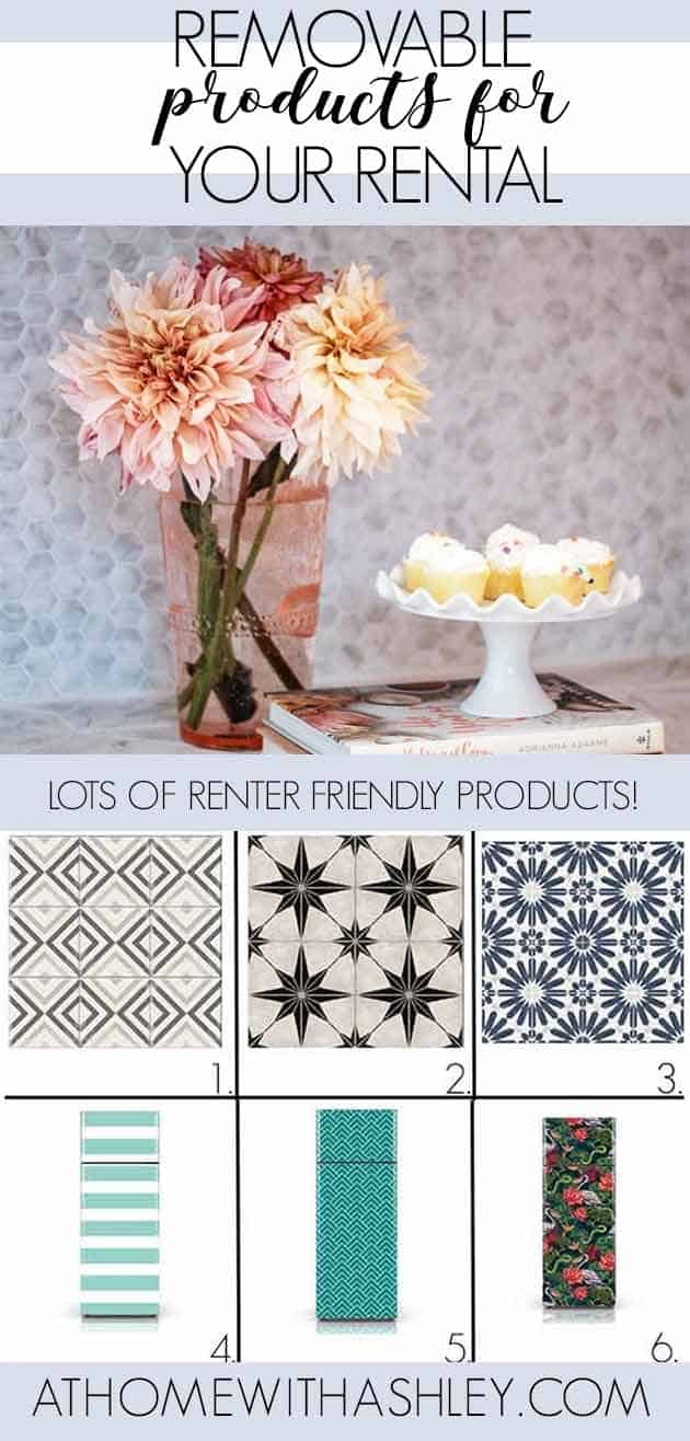 Calling all renters! If you're looking for ideas to spruce up your space & still get your deposit back, I've got you covered. I've gathered the best removable DIY products for your rental. You'll find removable wallpaper that you can put on an accent wall or anywhere you want. Then peel and stick tile backsplashes & floor tile for your kitchen. Finally there are appliance wraps you'll love. Like #7 with jungle plants! #renterfriendlyproducts #wallpaperforrenters #removablewallpaper #peelandstick