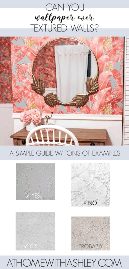 Can you wallpaper over textured walls? If your walls aren't perfectly smooth, can you adhere peel and stick or traditional paste wallpaper? For extra rough walls, a skim coat might be needed. Click through to see the types of textured walls that will work with wallpaper and other things to consider like color and thickness of paper.