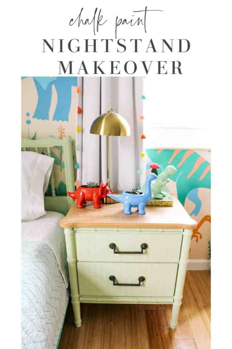 chalk paint night stand makeover. Easy tutorial with ideas on how to paint a night stand. Before and after of this cute green bamboo night stand for a boys room