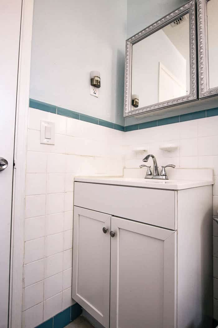 fluted bathroom cabinet refacing diy. How to take a laminate vanity and redo the cabinet doors with half round molding. The easy way to do cabinet resurfacing- some ideas and a full tutorial