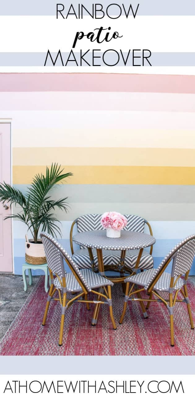 rainbow patio reveal. Want outdoor patio ideas on a budget? I'm sharing the design for decorating my backyard with affordable furniture. This is a small cement patio, but the makeover and boho decor look great! Click through for all the pretty pictures!