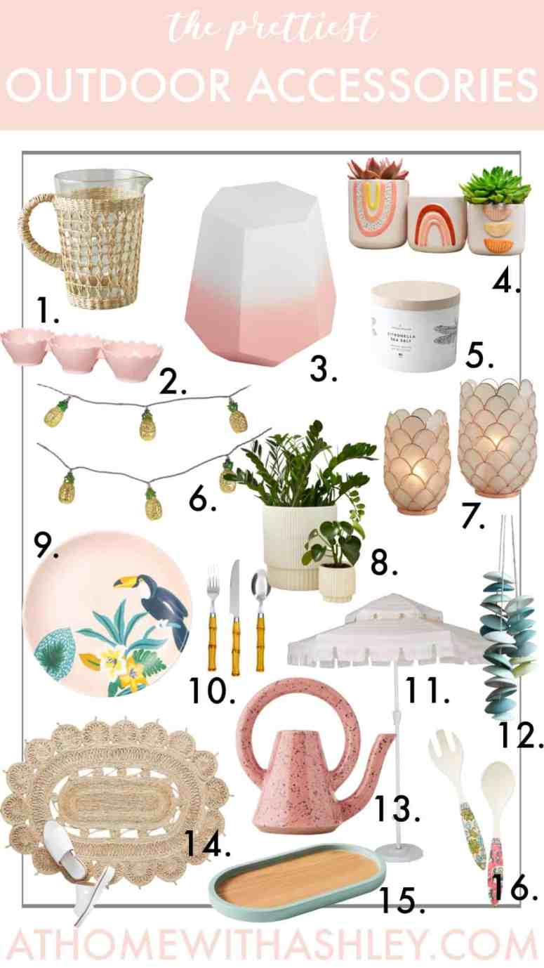 15 cute and stylish outdoor accessories. Looking to add some decor to you patio or backyard? I have some modern and fun ideas for you! From pillows to pots and planters to string lights. You'll love how these'll add ambiance to your summer space!